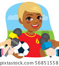 Black female soccer player in front of reporters 56851558