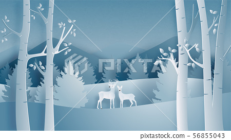 Deer couple in forest in paper cut style. Winter 56855043