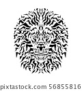 Black and white of lion head on white 56855816