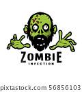 Cartoon green zombie, outbreak infection, emblem. Vector illustration. 56856103