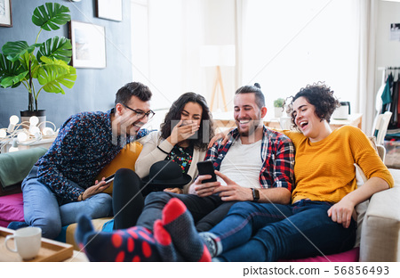 A group of young friends with smartphone sitting on sofa indoors, house sharing concept. 56856493