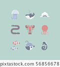 collection pack icon group set of aquatic animal 56856678