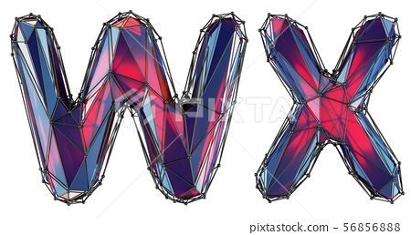Realistic 3D letters set W, X made of low poly style. Collection symbols of low poly style red color 56856888