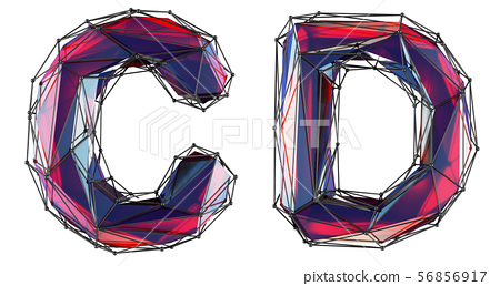 Realistic 3D letters set C, D made of low poly style. Collection symbols of low poly style red color 56856917