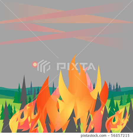 Forest fires disaster mountain trees flat vector illustration 56857215
