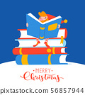 Christmas card with cute elf character read a book. 56857944