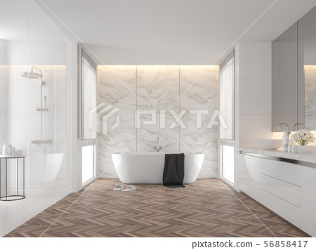 Luxury bathroom with white marble wall 3d render 56858417