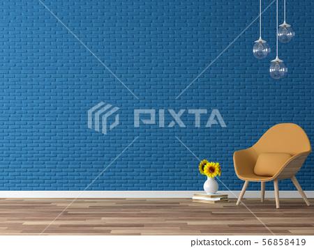 Empty navy blue brick wall 3d render 56858419
