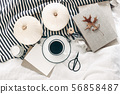 Blank greeting card mock-up. Autumn breakfast in bed composition. Cup of coffee, white pumpkins 56858487