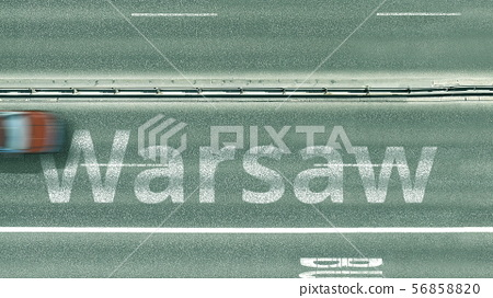 Aerial top-down view of the road. Cars reveal Warsaw text. Travel to Poland 3D rendering 56858820