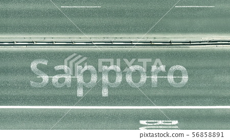 Overhead view of the busy car road with Sapporo text. Travel to Japan 3D rendering 56858891