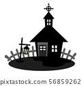 밤의 작은 교회 실루엣 56859262