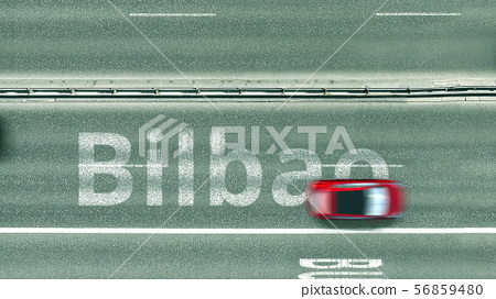 Overhead view of the busy car road with Bilbao text. Travel to Spain 3D rendering 56859480