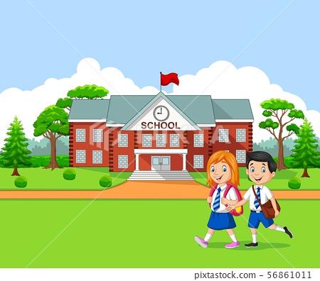 Happy little kids going to school 56861011