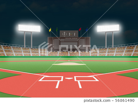 棒球場(夜間遊戲)圖像 56861490