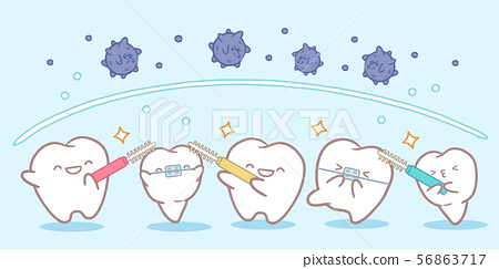 tooth with clean concept 56863717
