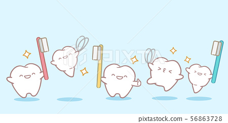 cute cartoon tooth playing 56863728