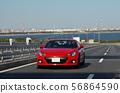 Car running sports car bridge 56864590