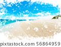 오키나와 민나 섬의 해변 일러스트 56864959