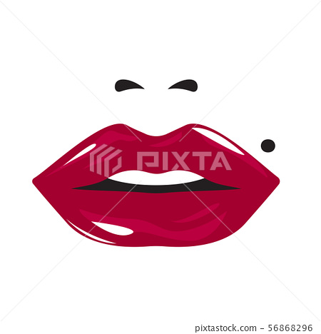 glossy attractive female mouth 56868296