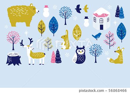 參觀寒冷的冬季動物 56868466