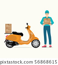 Delivery man holding boxes with scooter motorcycle 56868615