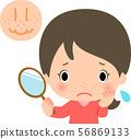 얼굴의 모공을 걱정하는 젊은 여성 56869133