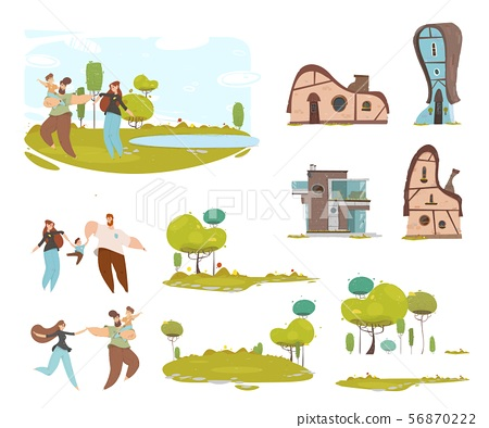 Craft Family, Country House, Farmland Cartoon Set 56870222