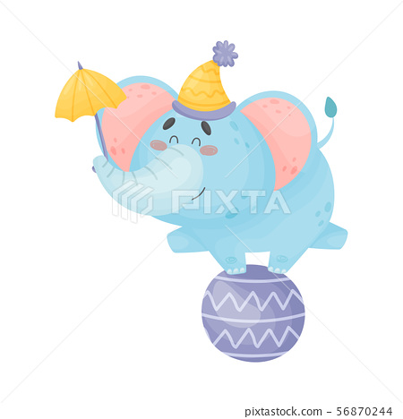 Cartoon elephant stands on a large ball. Vector illustration on a white background. 56870244