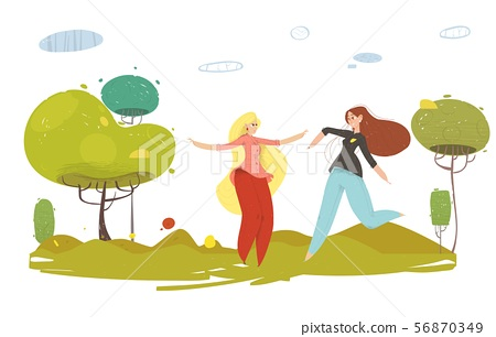 Happy Cartoon Craft Woman Rest on Nature Vector 56870349