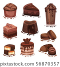 Set of various chocolate desserts. Vector illustration on a white background. 56870357