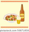 중화 요리 탕수육과 맥주 56871858