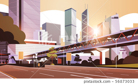 highway road to city skyline with modern skyscrapers and subway cityscape sunset background flat 56873033