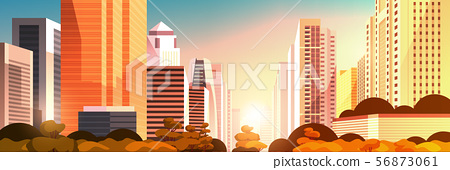 beautifil city on sunset panorama skyline high skyscrapers modern cityscape background flat 56873061