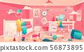 Little girl messy bedroom cartoon vector interior 56873895