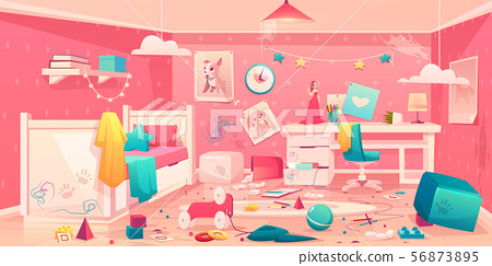 Little girl messy bedroom cartoon vector interior 56873895