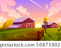 Farm on summer nature rural background with barn 56873902