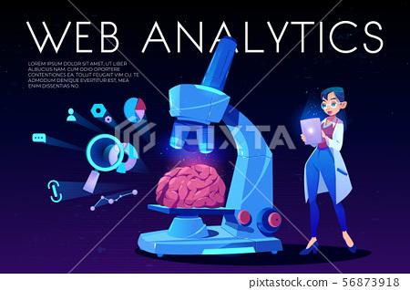 Web analytics landing page, brain and seo icons 56873918