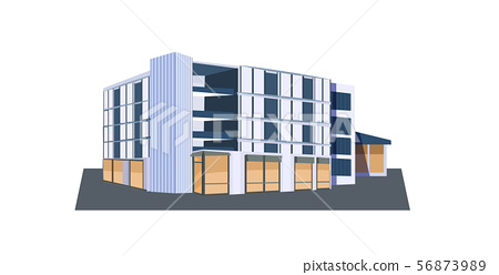 modern corporate office building icon business center exterior with large panoramic windows flat 56873989
