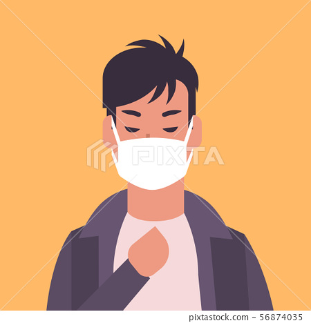 man wearing face mask environmental industrial smog dust toxic air pollution and virus protection 56874035