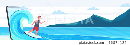 surfer man surfing on wave guy on surfboard summer activities digital technology concept mountains 56874123