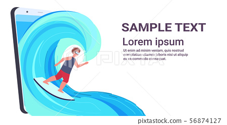 surfer man wearing digital glasses surfing on wave guy on surfboard headset vision virtual reality 56874127