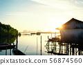 Fishermen village on the seashore. 56874560