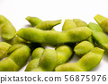 A classic snack, boiled green soybeans. 56875976
