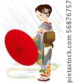 Woman in kimono with rain 56876757