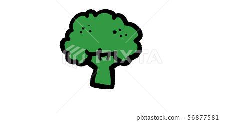 가을의 미각 소재 가을 식욕 재료 간단한 필기 아날로그 브로콜리 56877581