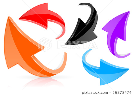 Shiny 3d arrows. Colored icons 56878474