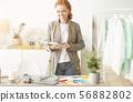 Excited dressmaker using digital tablet, working in atelier 56882802