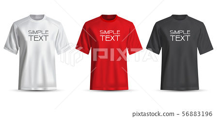 Realistic T-shirt white red black on white. 56883196
