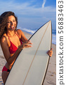 Beautiful Bikini Woman Girl Surfer & Surfboard 56883463